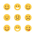 Yellow Cartoon Face Set Emoji People Different Emotion Icon Collection Royalty Free Stock Photo