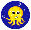 Yellow cartoon octopus in sea water Royalty Free Stock Photography