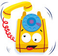 Yellow cartoon phone Royalty Free Stock Image
