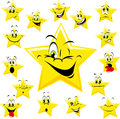 Yellow Cartoon Star Faces Royalty Free Stock Photo