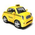 Yellow cartoon taxi Royalty Free Stock Photo