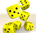 Yellow casino dice Royalty Free Stock Photography