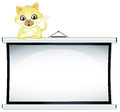 A yellow cat leaning over the empty bulletin board illustration of on white background Royalty Free Stock Image
