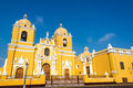 Yellow cathedral in trujillo peru magnificent with a beautiful blue sky Royalty Free Stock Photo
