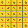 Yellow, cellular background with toys Royalty Free Stock Photography