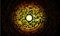 Yellow center labyrinth with multiple complicated ways on black background Stock Photos