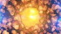Yellow center with shapeless particles around