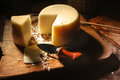 Yellow cheese business still life from classical sample of Royalty Free Stock Photography