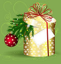 Yellow Christmas box Royalty Free Stock Images