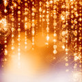 Yellow christmas lights background with bokeh Royalty Free Stock Photo