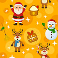 Yellow christmas seamless pattern a with santa claus a snowman reindeer and cookies on background useful also as design element Royalty Free Stock Photos