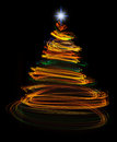 Yellow christmas tree light painting Royalty Free Stock Photo