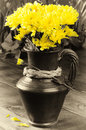 Yellow chrysanthemums in a vintage jug Royalty Free Stock Images