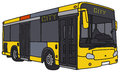 Yellow city bus vector illustration of hand drawn not a real model Royalty Free Stock Image