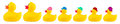 Yellow classic rubber bath duck toy cool family Royalty Free Stock Photo