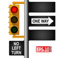 Yellow classic traffic light on a pole in the USA. Road signs. Regulation of traffic. Royalty Free Stock Photo