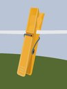 Yellow clothespin plastic clothespeg clip Royalty Free Stock Photos
