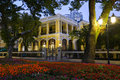 Yellow colonial building at the evening shamian island in guangzhou city guangdong china style central avenue surrounded by old Stock Photo