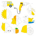 Yellow Color Objects, the big kid game to be colored by example half.