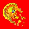 Yellow color splash effect red. Icon ideas. Washing up. Messy swirl. Ornate idea. Fresh drops. Color splash. Web graphics. Royalty Free Stock Photo