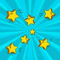 Yellow comic stars on blue background in pop art style. Vector