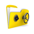 Yellow computer folder lock d image Stock Photos