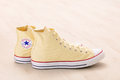 Yellow Converse sneakers Royalty Free Stock Photo