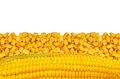 Yellow corn grain isolated on white Royalty Free Stock Photo