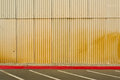 Yellow corrugated tin wall of a hangar in crissy field san francisco california usa Royalty Free Stock Photos