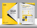 Yellow Cover Annual report brochure flyer template Royalty Free Stock Photo