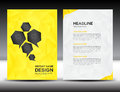 Yellow Cover Annual report template,polygon background,brochure design,cover template,flyer design,portfolio Royalty Free Stock Photo