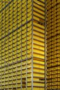 Yellow crates tower Royalty Free Stock Images