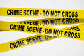 Yellow crime scene tape on white background Royalty Free Stock Photos