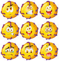 Yellow critter with facial expressions illustration Royalty Free Stock Photography