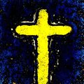 Yellow cross of jesus christ