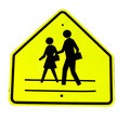 Yellow crosswalk sign Royalty Free Stock Photos