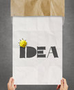 Yellow crumpled paper on hand drawn IDEA Royalty Free Stock Photo