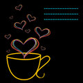 Yellow cup and floating hearts Royalty Free Stock Photo
