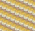 Yellow cupcakes sweets seamless doodle vector pattern hand drawn.Vintage bakery background.