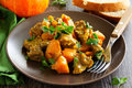 Yellow curry with pumpkin Royalty Free Stock Photo