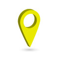 Yellow 3D map pointer with dropped shadow on white background. EPS10 vector illustration
