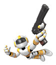 Yellow d robot jumping holding an automatic pistol create humanoid series Stock Photo