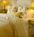 Yellow daisy bedroom Stock Photo