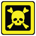 Yellow danger sign with skull illustration Royalty Free Stock Photos
