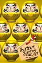 Yellow Daruma Dolls, Votive Picture On Yellow