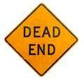 A yellow dead end sign on a white background Royalty Free Stock Image