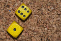 Yellow dices one six Royalty Free Stock Photo