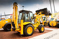 Yellow diesel front end loader on display Royalty Free Stock Photo