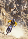 Yellow Dirt Bike Racer Royalty Free Stock Photography