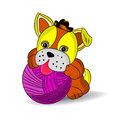 Yellow dog in a hat playing with a ball of threads, a cartoon on a white background. Royalty Free Stock Photo
